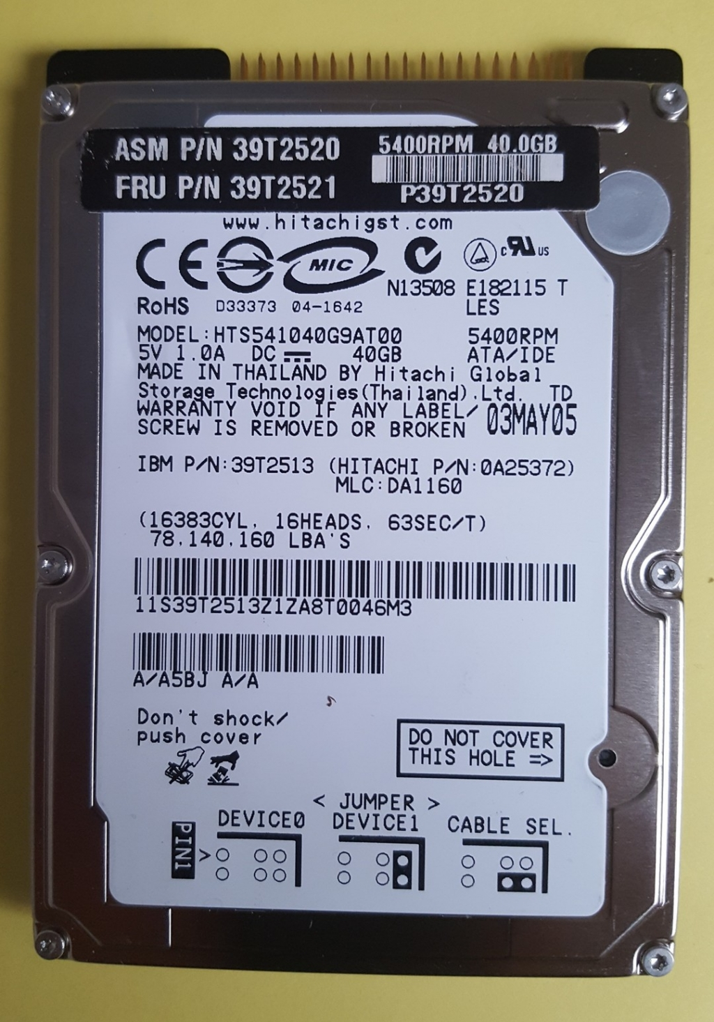 Hitachi HGST HTS541060G9AT00 60GB IDE/ATA 2,5""
