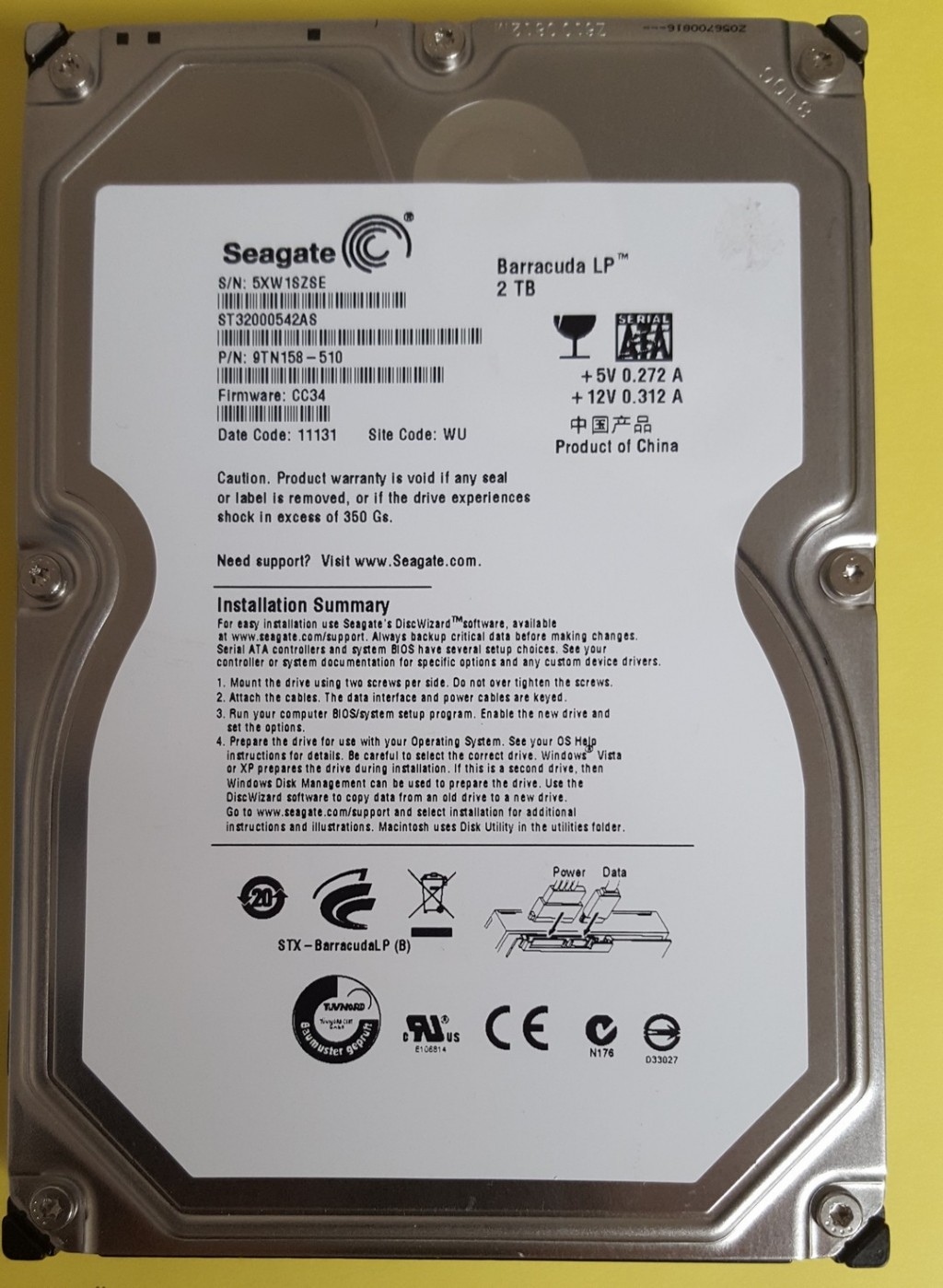Seagate ST32000542AS  2TB SATA 3,5""