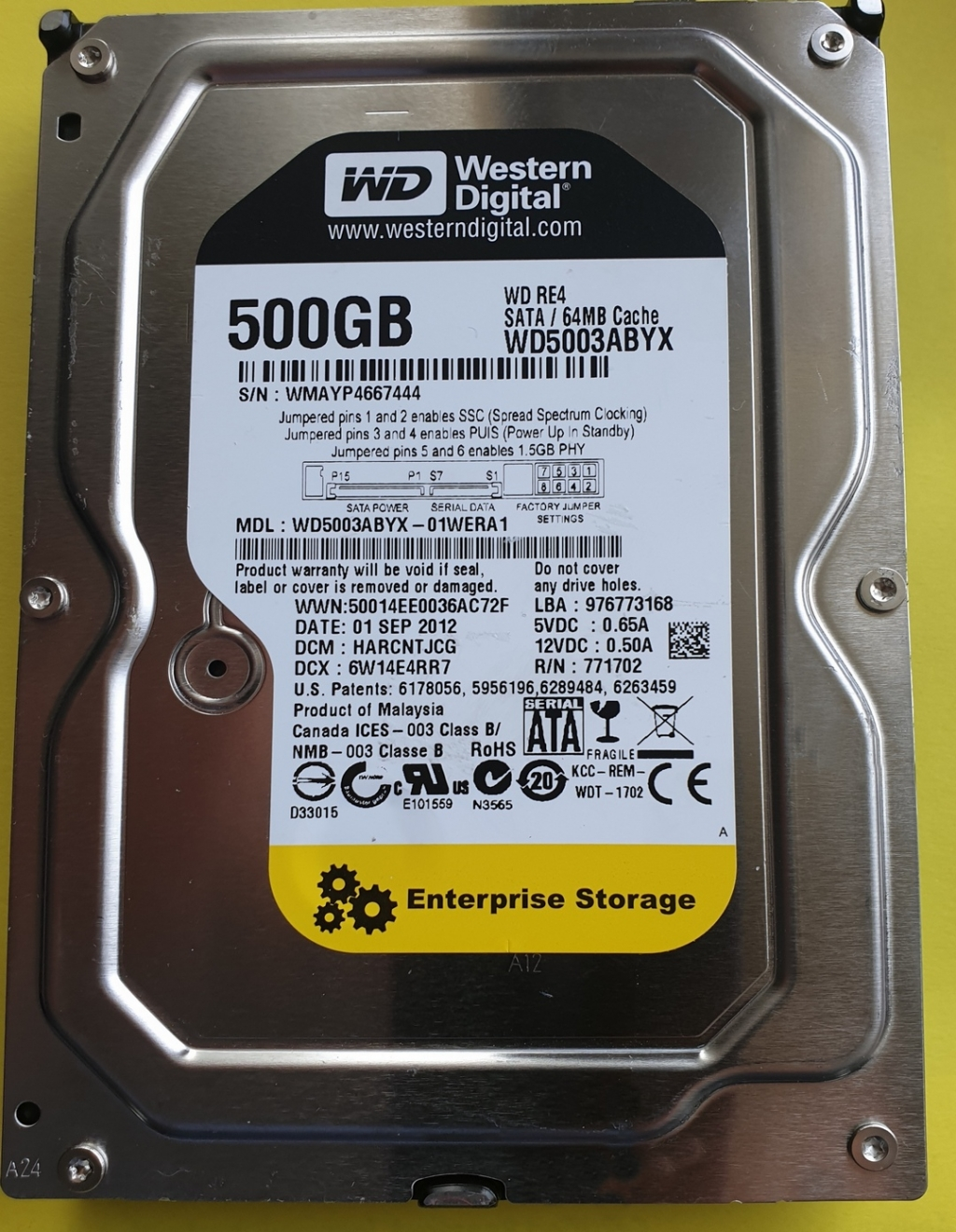 Western Digital WD5003ABYX  500GB SATA 3,5""